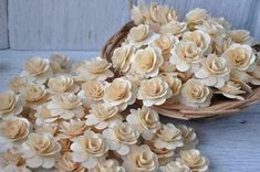 150 Pcs Birch Wood Shavings Crafted Flowers - Natural | AccentsandPetals - Wedding on ArtFire