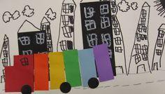 kinder art, kindergarten rainbow, big green, art lesson, kid art