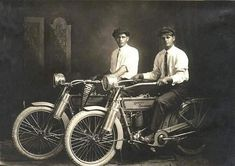 1914: William Harley and Arthur Davidson, the Founders of Harley Davidson Motorcycles.