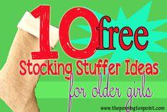 Love these ideas! 10 free stocking stuffer ideas for older girls via @Lisa Pennington of Pennington Point