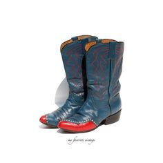 vintage blue and red cowboy boots