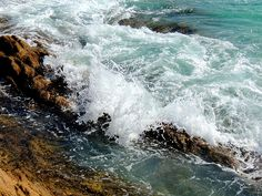 The waves, from the rocks. El Tule, Baja California Sur, Mexico.