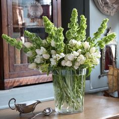 Lime green molucella laevis (bells of Ireland) and white tulips | Cut flowers | In season | Garden idea | Housetohome | PHOTOGALLERY