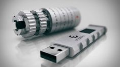 Crypteks USB  This high-tech USB drive features 256-bit AES Hardware Encryption and has a mechanical lock that offers 14,348,907 possible combinations that you can customize to keep your data safe from intruders and nosy friends.    Most of the inner parts are made of ultra-high-grade aluminum alloy finished in a anodized layer to keep finger prints and dust away. Add that to quality construction and laser etching and you have one sexy looking toy.