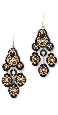 Gold and Black Diamonds Earrings