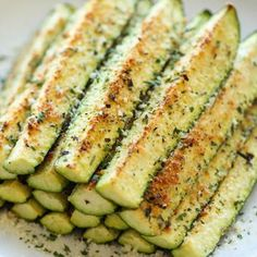 Baked Parmesan Zucchini (we make this a lot, even in winter... you can put it under the broiler right in your oven ♥