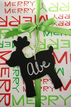 Reusable Chalkboard Gift Tags  Cut shapes out of card stock and paint over with 2-3 coats of chalkboard paint.