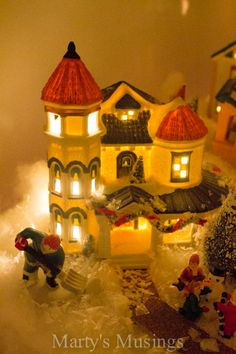 Filled with houses and people collected through the years, our Dickensvile village delights us throughout the day and night. christma villag, thrifty decor, christma decor, christma idea, christmas villages, christma hous, diy, christmas houses, 2013 christma