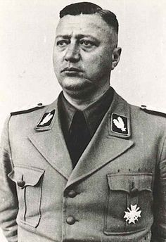 Karl Schöngarth was an SS Brigadier General who committed mass murder and genocide in Poland during the Holocaust. He formed several Einsatzgruppen in Warsaw, Radom, and Lublin. He was responsible for the murder of up to 10,000 Jewish citizens between July and September 1941 and later the massacre of Lviv professors during Operation Barbarossa.  He later worked as a Commander of the Gestapo in the Netherlands. Captured by the Allies, he was hanged for murdering a downed Allied pilot.