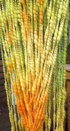 Handspun Yarn MULTI CLOUD 7-bulky merino, plied yarn,crochet knitting weaving supplies, baby prop yarn, waldorf doll hair 64yds