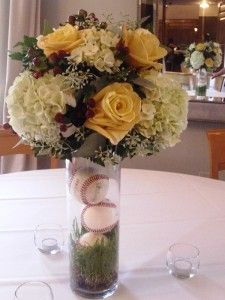 nay flowers. yay baseball filled vase!!