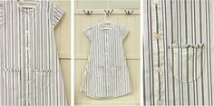 Girls dress tutorial - made from adult shirt - Martha Stewart tutorial link. It reminds me of the flour sack clothing made during tough times in the past.