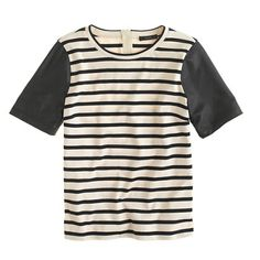 leather-sleeve top in stripe / j.crew