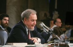 Reagan nominee for the Supreme Court, Judge Robert Bork, testifies on the fourth day of his Supreme Court confirmation hearing in Washington D C. on Sept. 18, 1987. Bork was rejected by the Senate.