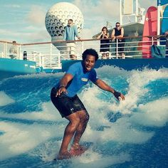 Sports and Fitness advisor Dhani Jones does some onboard research for Quantum of the Seas http://www.premiercustomtravel.com/cruises/royalcaribbean.html #Travel #Cruising #RoyalCaribbean #QuantamOfTheSeas #Sports #Fitness #FlowRider #Fun #Entertainment #Water