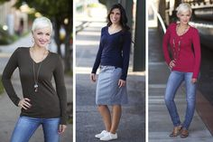 A super-soft top with long sleeves is enlivened by season matching colors. Designed with a little extra length and a ultra-flattering V neck style. pickyourplum.com