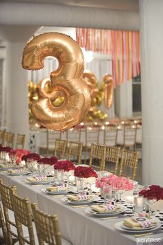 mylar balloon table numbers #wedding