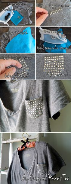 Swarovski Crystal Pocket Tee DIY - I want to make a DIY pocket tee SO bad and this would be adorable! God....please give me the time!?!?!