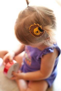 felt lion hair barrette