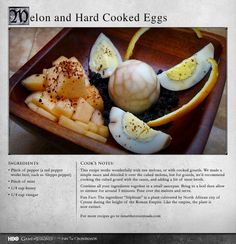 """""""The eggs are a subtle experience, dark and smoky with a great spiced flavor."""" MORE RECIPES: http://itsh.bo/LQC1sC #eggs #breakfast #gameofthrones #melon"""