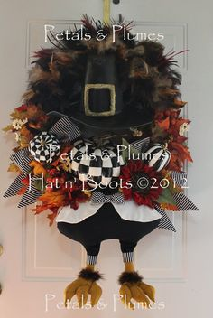 MADE to ORDER Item-Thanksgiving  Turkey Wreath-Mr Gobble Gobble-B/W Checks (See PRODUCTION time)Petals & Plumes Orig Design