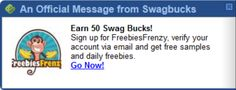 #ezOFFER Locate the sliding notification for today on http://www.swagbucks.com/p/special-offers. Use a new email address to complete the Freebies Frenzy #specialoffer for 50 #swagbucks in #Chrome the offer credits instantly. If you are unable to locate the sliding notification in Chrome complete the #ezaspirin in #Firefox and look for the offer again. #GoodLuck #HaveFun #ezswag :)
