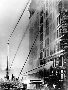 """The Triangle Shirtwaist Factory fire, 1911...my great grandmother Rosalie Anselmo, who did """"piece work"""" in the factory for slave wages, survived by reaching the roof, where she was pulled via ladder by students to the adjacent roof of an NYU classroom building."""