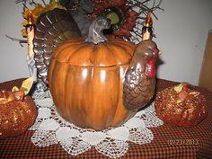 OOAK Porcelain Hand Painted Turkey Cookie Jar Thanksgiving Primitive | eBay
