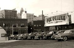 Car lot north side of downtown, south of today's Iowa Events Center, 1940's