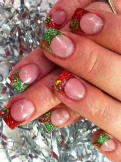 Christmas Inspired Red & Green Tips