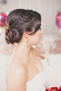 Pretty braided updo! #hair   Photography: Denise Lin Photography - www.deniselin.com  Read More: http://www.stylemepretty.com/canada-weddings/2014/04/28/modern-glamour-inspired-photo-shoot/