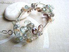 XANADU ice flower gemstone aquamarine silver wire wrap necklace $98 #etsyfollow #brigteam #jewelry @Shadow