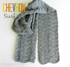 free #crochet pattern for a chevron scarf from Grow Creative