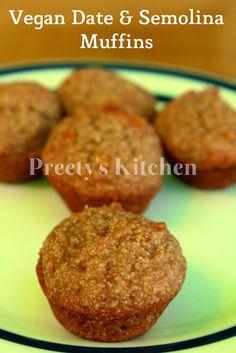 Vegan Date & Semolina Muffins ( Dairy , Butter & Sugar Free Recipe)