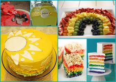 rainbow fruit tray and lemonade name tag