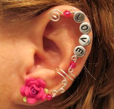 "Cartilage Ear Cuff Fuschia Rose Wedding Prom Bridal  ""Love is Always"" No Piercing Helix Conch  #jewelry #arianrhodwolfchild #piercing #cartilage #earrings #earcuff #prom #wedding"