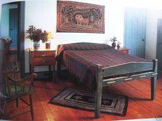 primitive rope bed, wool hooked rug