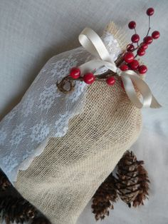 Burlap Bag  Set of 3 by CrownedWithBeauty on Etsy, $12.00