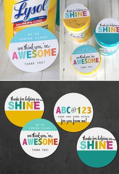 I love this! Cheap, easy, and cute teacher appreciation (or end of year) gift that the teacher will actually use! They get so many goodies they end up throwing away - how about giving Lysol wipes instead? Cute free printable labels.