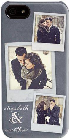 wedding-theme iPhone case customized with engagement photos - great idea!