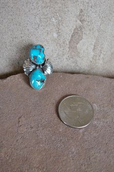 Navajo Turquoise Sterling Silver Floral by ArizonaHandmadeArts, $85.50