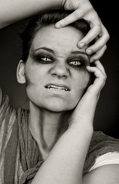 scary , makeup , black and white , eyes , adrienne beacco , photography , studio , photoshop , utah , dark , halloween, halloween makeup , white contacts , horror , pose , studio photography