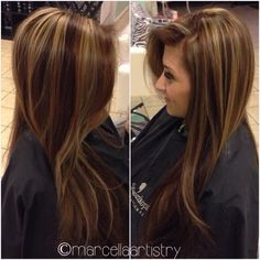 Hair color: Chocolate brown with golden highlights. I don't think I could ever pull this off....