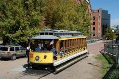 trolley car, visit denver, valley trolley, parks, confluenc park, platt valley, south platt