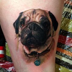 insanely good pug tattoo by Carlos Rojas