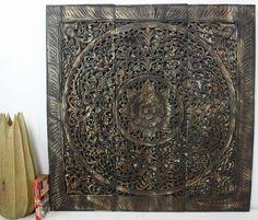 "#Walldecor #Teakwood carved 36"" wall panel #Lotusflower #ThaiArt"