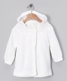 Take a look at this White Knit Cardigan by Tots Fifth Avenue on #zulily today!