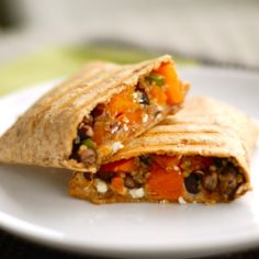 butternut squash + black beans + quinoa in a wrap.