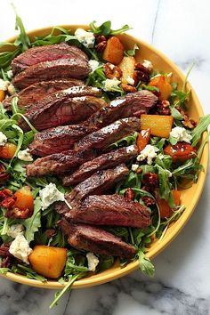 The Perfect Fall Salad! Arugula Skirt Steak Salad with Caramelized Pears, Pecans, and Gorgonzola.