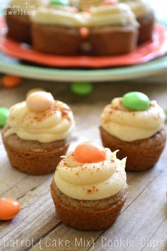 Carrot Cake Cookie Cups - made with cake mix, homemade cream cheese frosting, and carrot cake m&ms!
